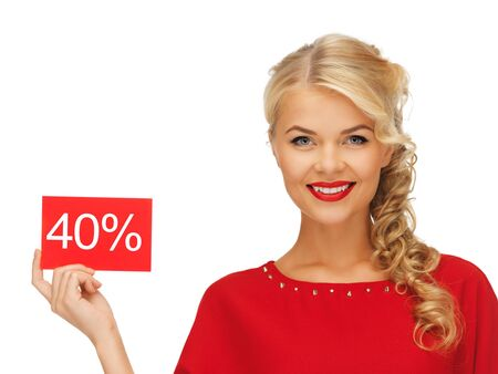 discount card: picture of lovely woman in red dress with discount card