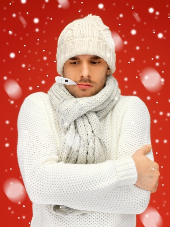 picture of sick man with thermometer in his mouth Stock Photo - 16216080