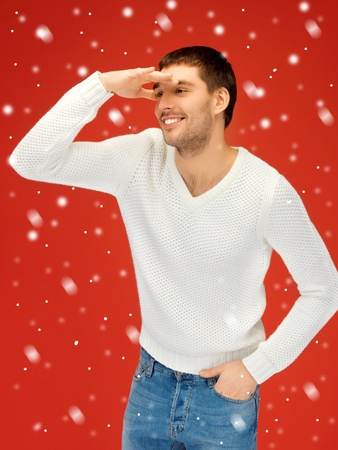 picture of handsome man in warm sweater looking forward Stock Photo - 16216121