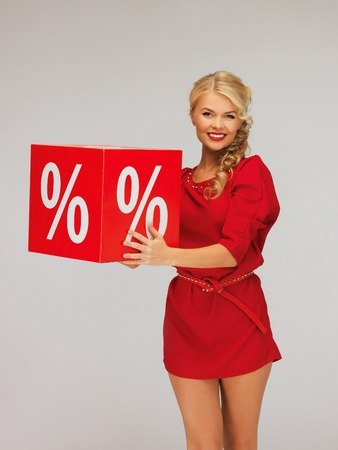 picture of lovely woman in red dress with percent sign Stock Photo - 16300335