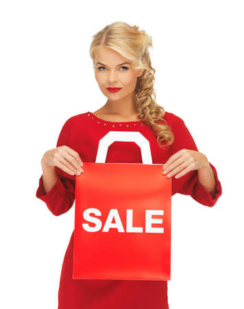 picture of beautiful woman in red dress with shopping bag Stock Photo - 16300293