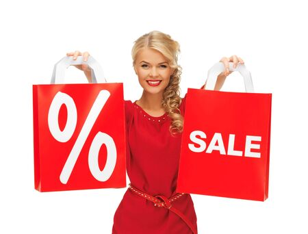 picture of beautiful woman in red dress with shopping bag Stock Photo - 16300300