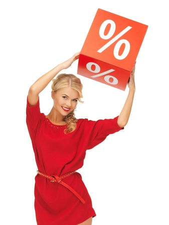 picture of lovely woman in red dress with percent sign Stock Photo - 16300309