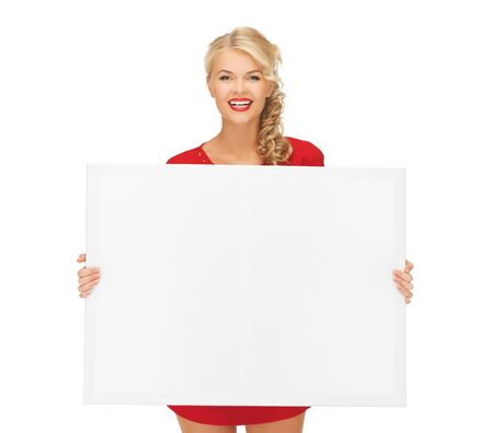 billboard advertising: picture of lovely woman in red dress with blank board Stock Photo