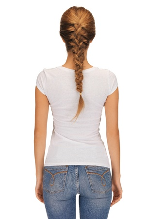 woman back: rear view of woman in blank white t-shirt
