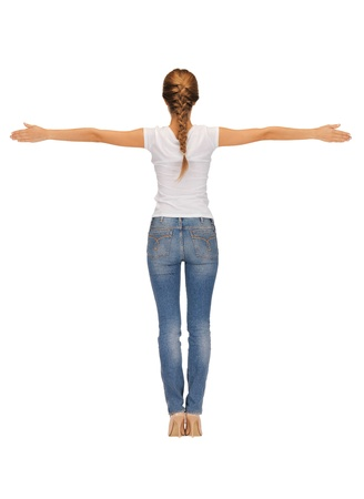 woman back view: rear view of woman in blank white t-shirt