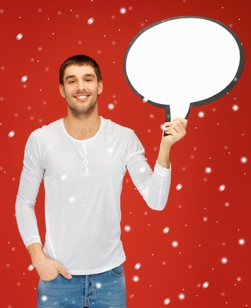bright picture of smiling man with blank text bubble  Stock Photo - 16335267