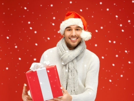 bright picture of handsome man in christmas hat