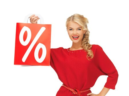 picture of beautiful woman in red dress with shopping bag Stock Photo - 16353923
