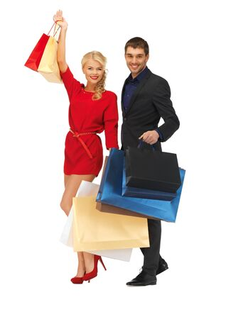 bright picture of man and woman with shopping bags Stock Photo - 16353821