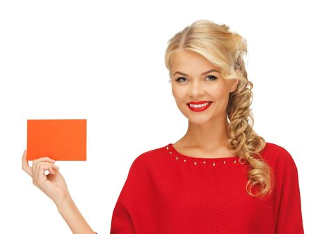 picture of lovely woman in red dress with note card Stock Photo - 16411044