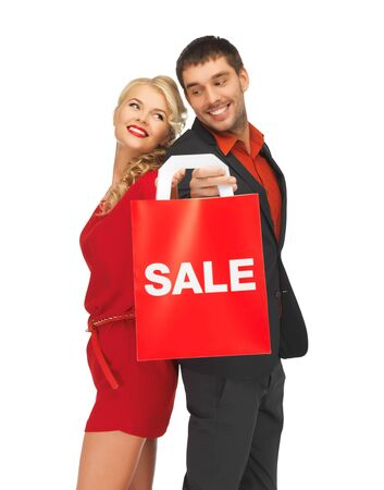 bright picture of man and woman with shopping bag Stock Photo - 16411108