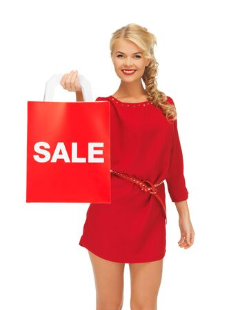 picture of beautiful woman in red dress with shopping bag Stock Photo - 16411069
