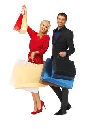 bright picture of man and woman with shopping bags Stock Photo - 16411084