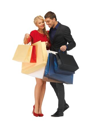 bright picture of man and woman with shopping bags Stock Photo - 16411101