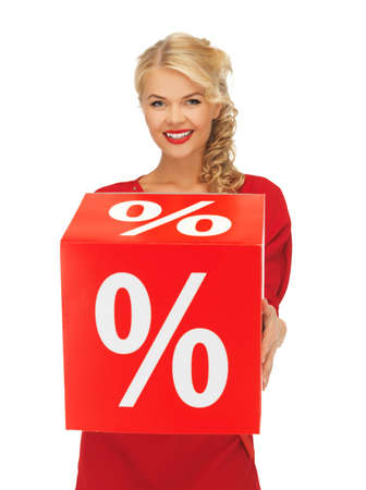 picture of lovely woman in red dress with percent sign Stock Photo - 16392735