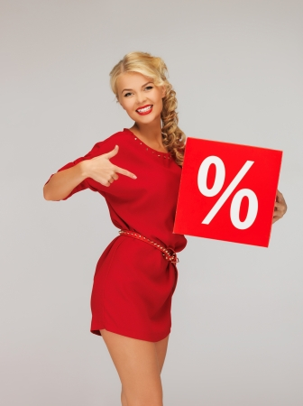 picture of lovely woman in red dress with percent sign Stock Photo - 16391777