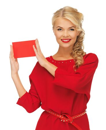 picture of lovely woman in red dress with note card Stock Photo - 16391819