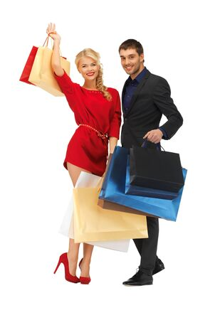 bright picture of man and woman with shopping bags Stock Photo - 16406800