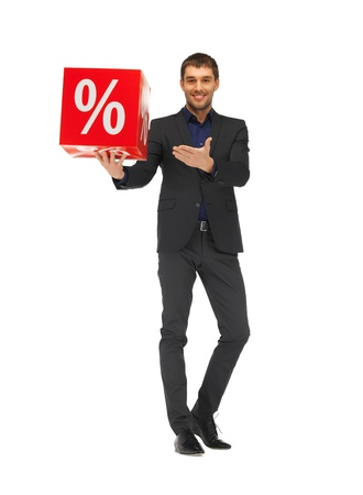 picture of handsome man in suit with percent sign Stock Photo - 16411144