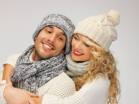 bright picture of family couple in a winter clothes Stock Photo - 16391784