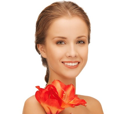 bright picture of lovely woman with red lily flower Stock Photo - 16393003