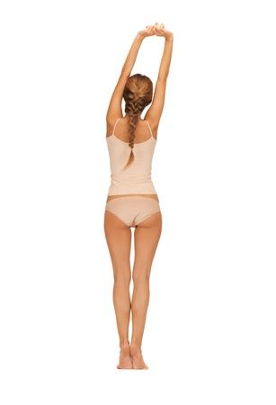 niñas en ropa interior: Vista trasera de una mujer hermosa en undrewear algodón