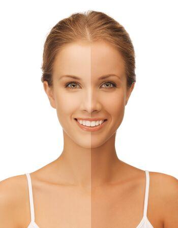 closeup brillante retrato de la mujer hermosa con la mitad de la cara curtida
