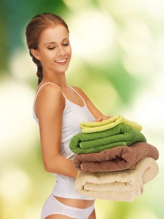 woman towel: bright picture of lovely woman with towels  Stock Photo