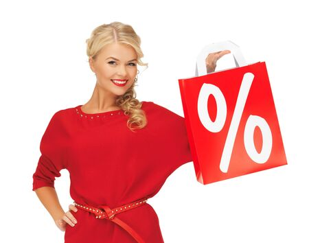 picture of beautiful woman in red dress with shopping bag Stock Photo - 16444295
