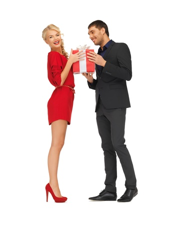 picture of man and woman with present Stock Photo - 16444111