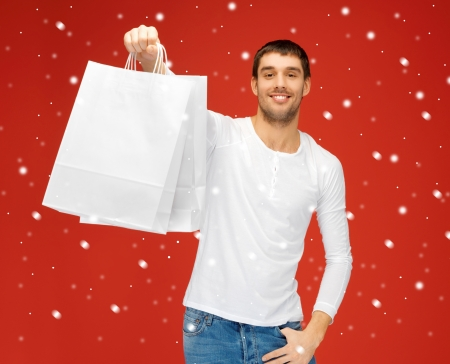 picture of handsome man with shopping bags Stock Photo - 16444306