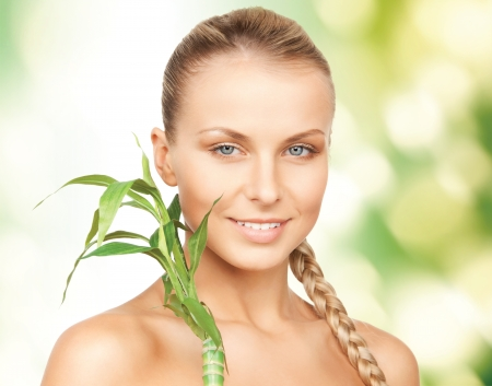 picture of woman with sprout over green background photo