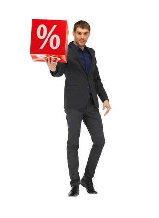 picture of handsome man in suit with percent sign  photo