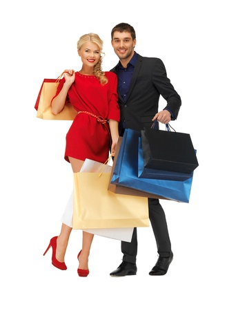 bright picture of man and woman with shopping bags Stock Photo - 16471108