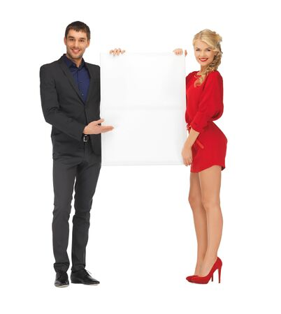 bright picture of couple holding big blank board Stock Photo - 16471107