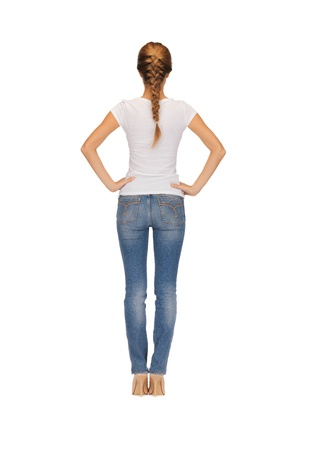 shy woman: rear view of woman in blank white t-shirt