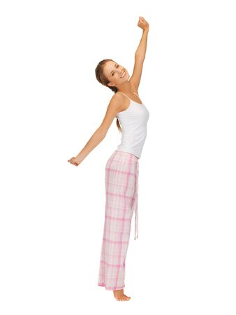 picture of woman in pajamas doing morning exercise photo