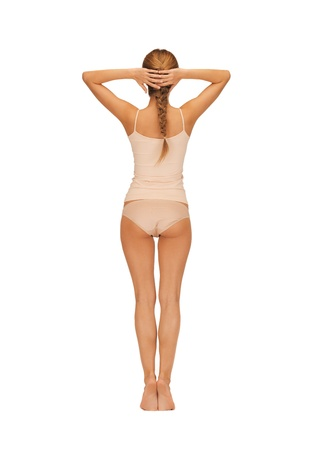 cotton panties: rear view of beautiful woman in cotton undrewear