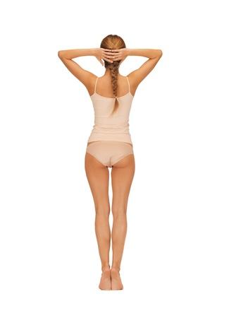 cotton panties: Vista trasera de una mujer hermosa en undrewear algod�n