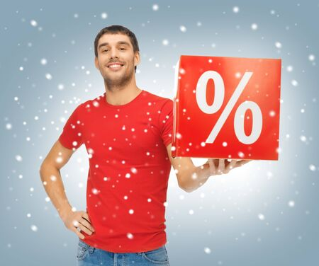 picture of handsome man with percent sign Stock Photo - 16471875