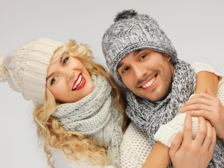 bright picture of family couple in a winter clothes Stock Photo - 16494983