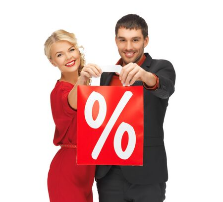 bright picture of man and woman with shopping bag photo
