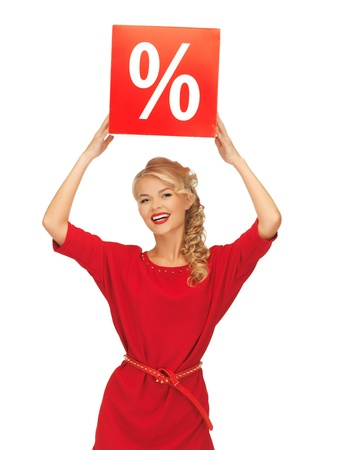 picture of lovely woman in red dress with percent sign photo