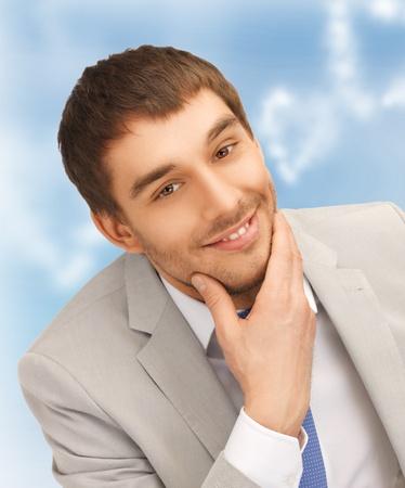 gigolo: bright closeup portrait picture of happy businessman