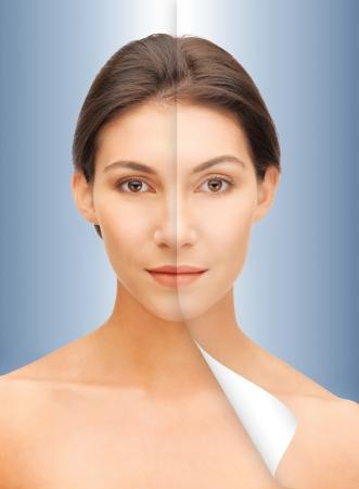 visage: closeup brillante retrato de la mujer hermosa con la mitad de la cara curtida Foto de archivo