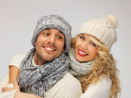 bright picture of family couple in a winter clothes Stock Photo - 16549382
