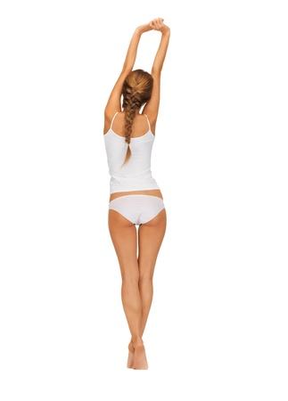 nice butt: rear view of beautiful woman in cotton undrewear