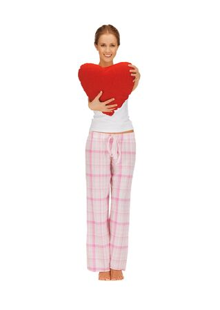 picture of woman in cotton pajamas with big heart photo