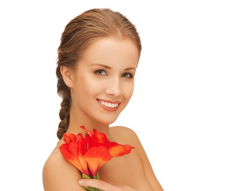 bright picture of lovely woman with red lily flower  Stock Photo - 16549346